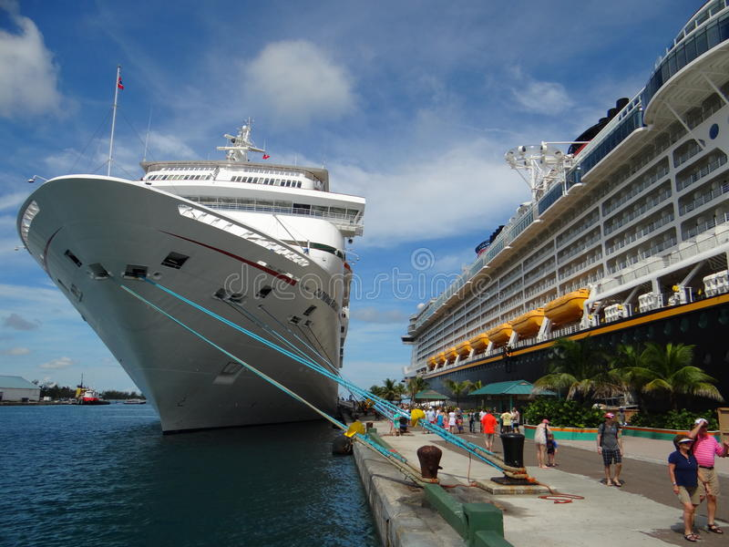 Docked ships in bahamas stock images