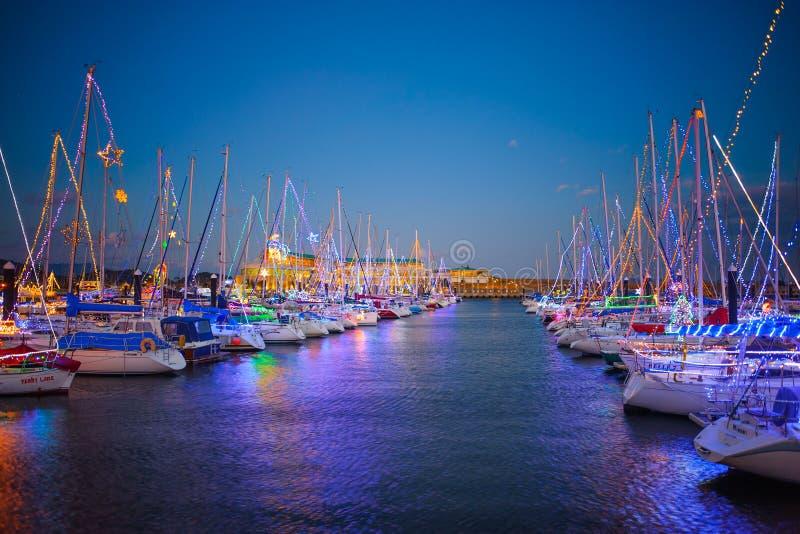 Docked yacht winter illumination stock image