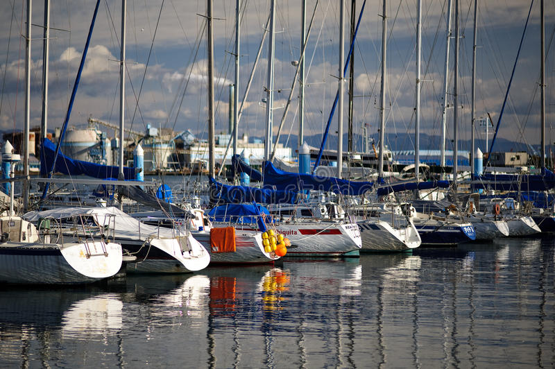 Docked yachts 01 stock images
