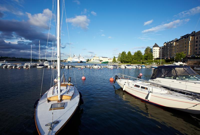 Docked yachts stock images