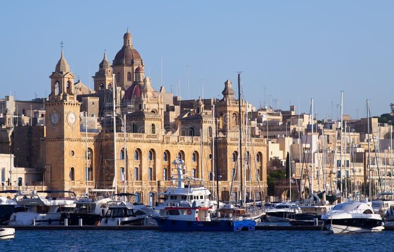 Docked yachts in Dockyard Creek. Of Senglea, Malta royalty free stock photo