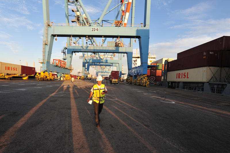 Docker - εργαζόμενος λιμένων στοκ φωτογραφία