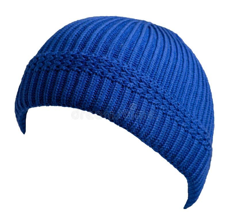 Docker gebreide hoed geïsoleerd op witte achtergrond raapje hoed visser stock afbeelding