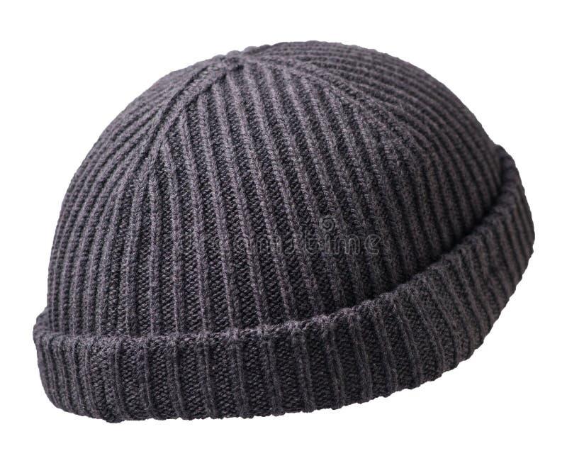 Docker gebreide hoed geïsoleerd op witte achtergrond raapje hoed visser stock fotografie