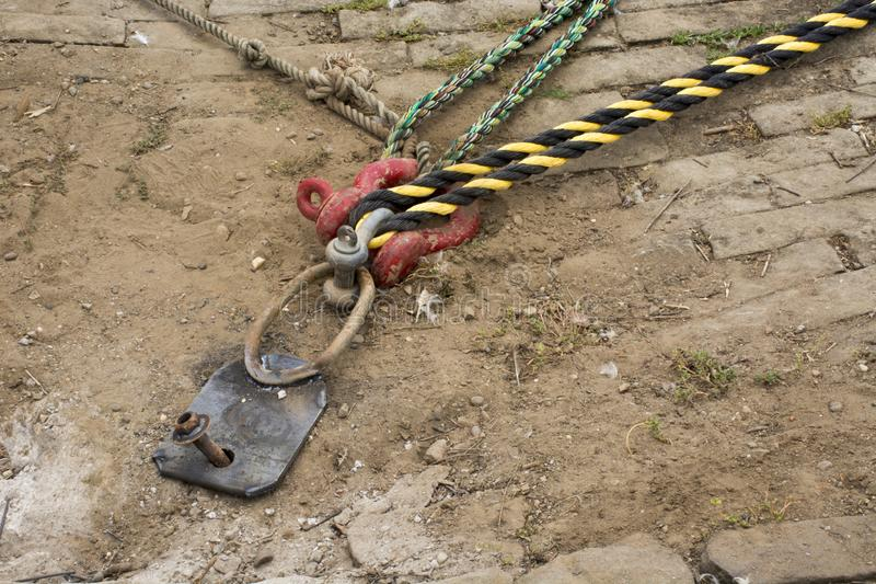 Docking cleat with docking ropes stock photo