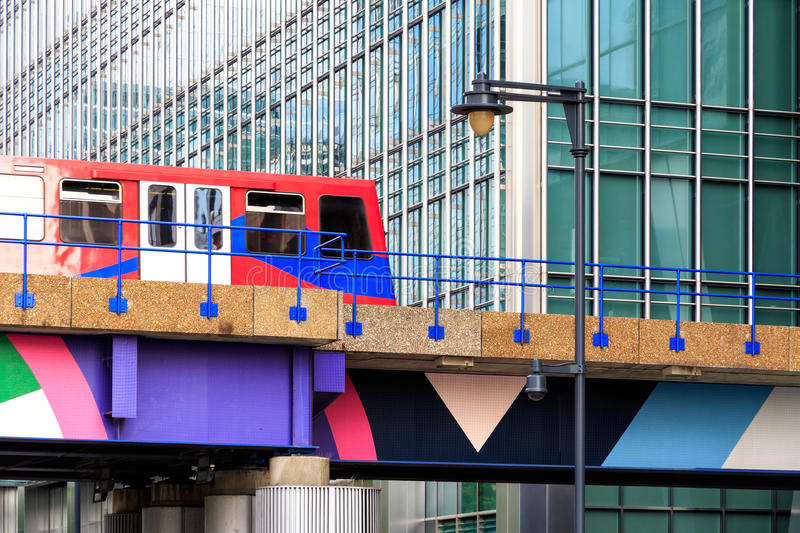 Docklands Light Railway in Canary Wharf, financial district of L stock image