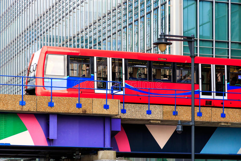 Docklands Light Railway in Canary Wharf, financial district of L royalty free stock photo