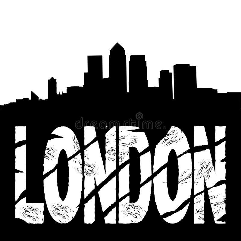 docklands London linia horyzontu tekst ilustracja wektor