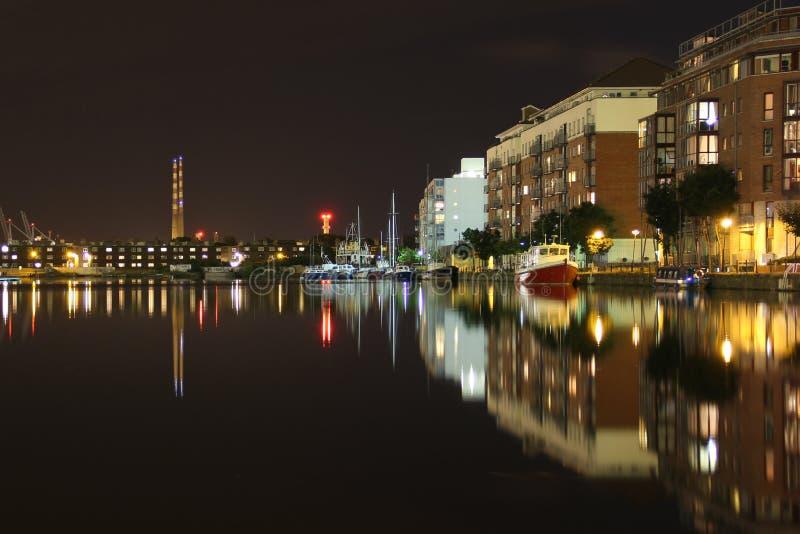 Docklands at night - Dublin royalty free stock photos