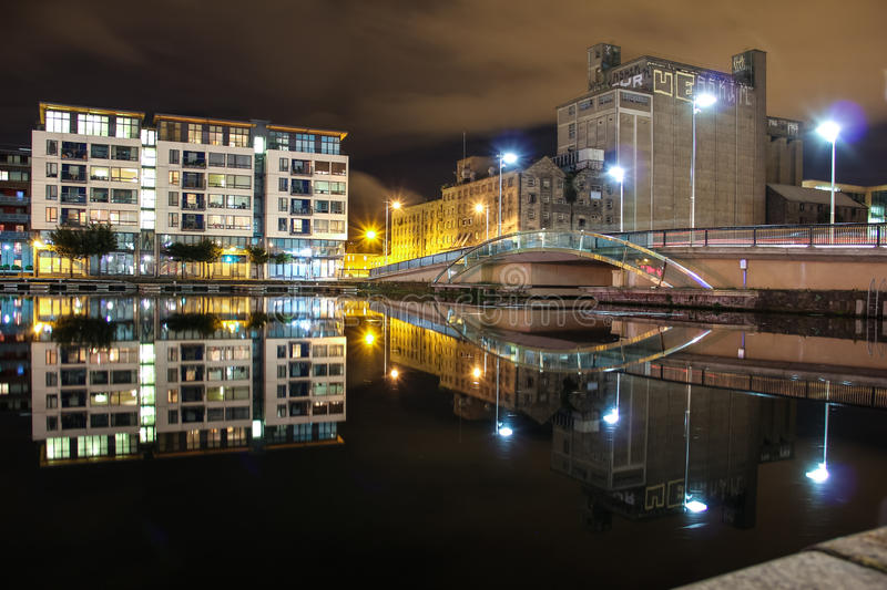 Docklands at night - Dublin royalty free stock photography