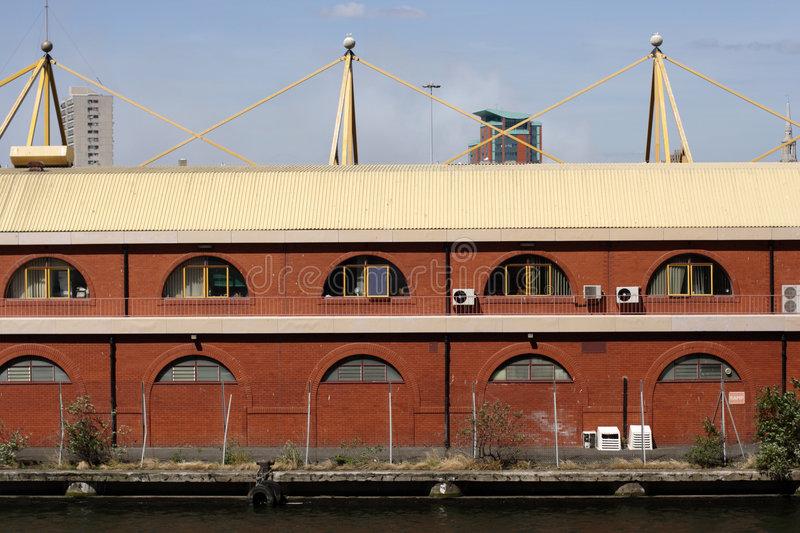 Docklands warehouses royalty free stock photo