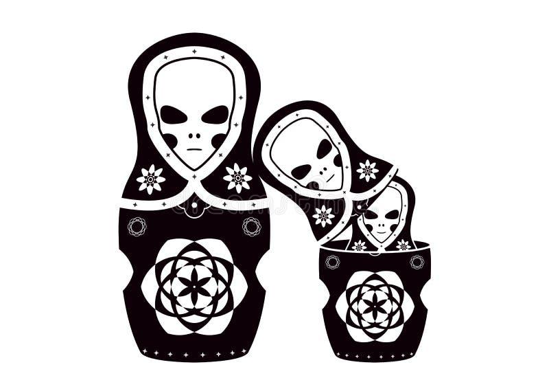 dockor et familjmatryoshkaryss royaltyfri illustrationer