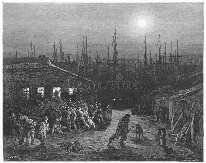 The Docks Night Scene. Picture from Gustave Dore's London: a Pilgrimage illustrated book published in 1873, London - UK