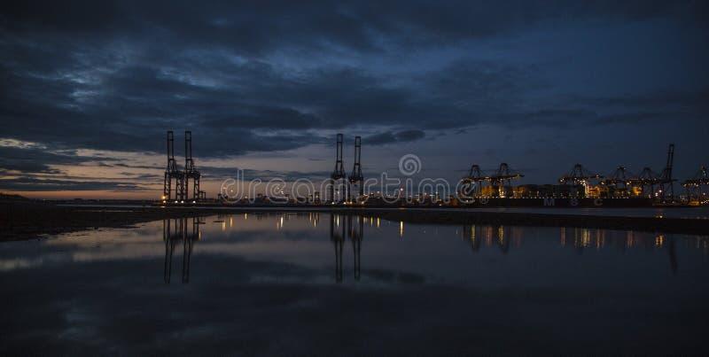 Docks Sunset. Sunset at the felixstowe docks stock photography