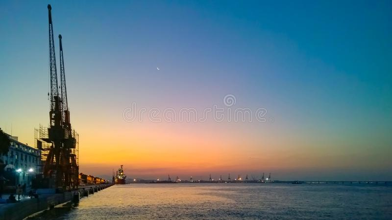 Docks at sunset. Harbour at summer sunset on Rio de Janeiro downtown stock photo