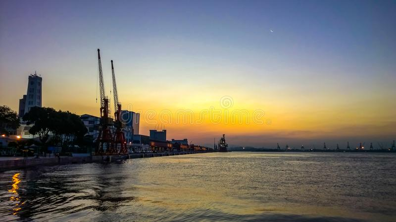 Docks at sunset. Harbour at summer sunset on Rio de Janeiro downtown royalty free stock photos