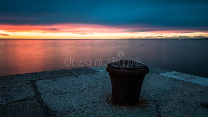 Docks of Trieste. Winter evening in the port of Trieste, Italy royalty free stock images
