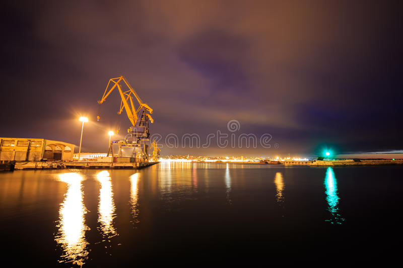 Docks of Trieste. Winter evening in the port of Trieste, Italy stock photos