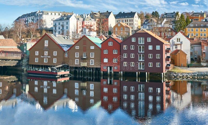 The docks of Trondheim stock image