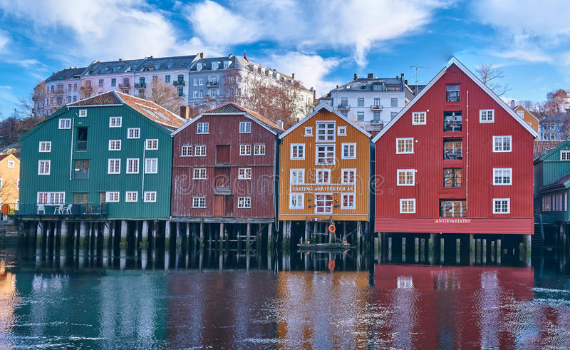 The docks of Trondheim royalty free stock photography
