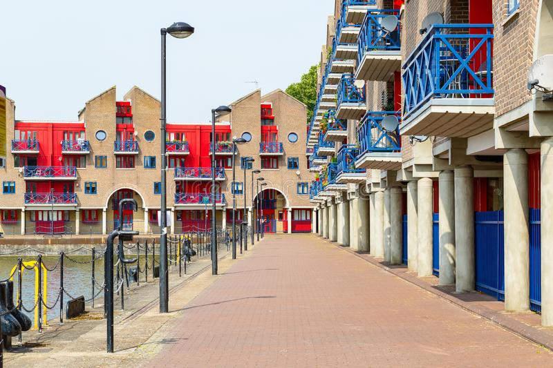 Dockside apartments at Shadwell Basin in London. Dockside apartments at Shadwell Basin, part of London Docks in London stock image