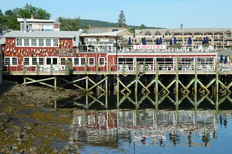 Dockside homara restauracja w historycznym Prętowym schronieniu, Maine fotografia royalty free