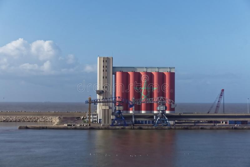 Dockside Storage Silo painted with Moroccan flag royalty free stock images