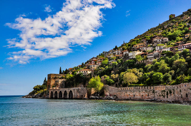 Dockyard and arsenal in Alanya on a beautiful, sunny day royalty free stock photography