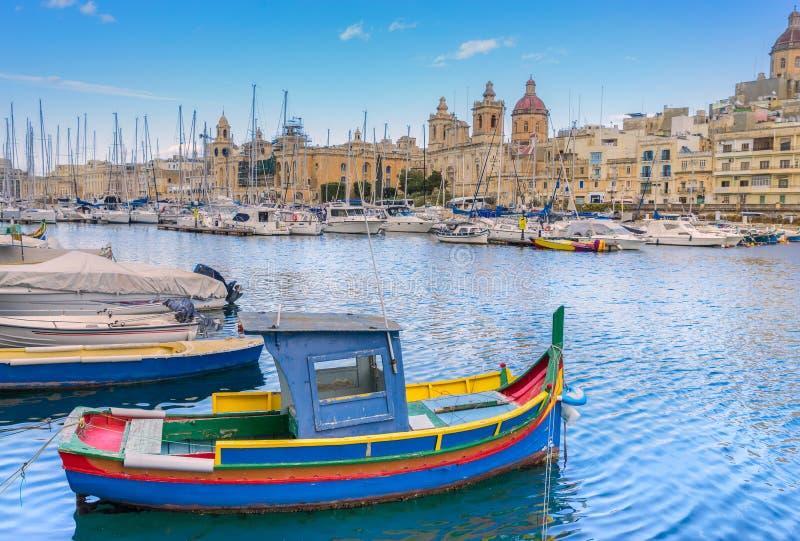 Dockyard Creek. On Birgu Wharf in Valletta Malta stock photography