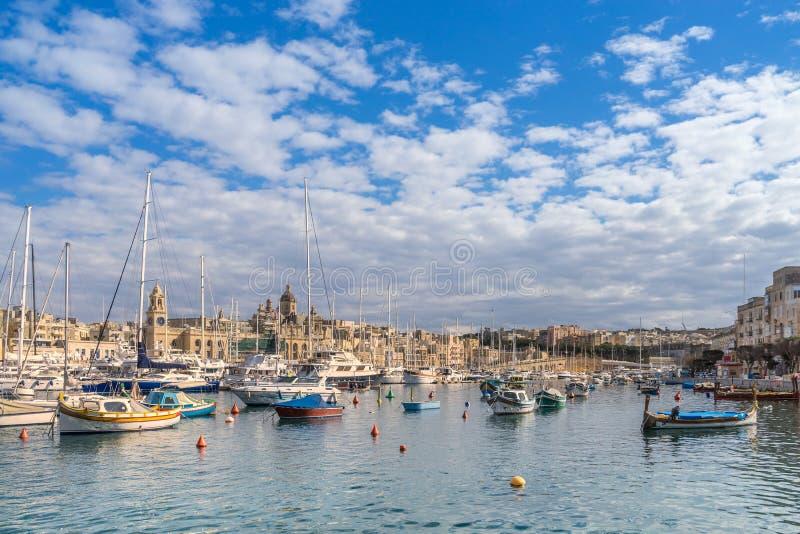 Dockyard Creek. On Birgu Wharf in Valletta Malta stock photo