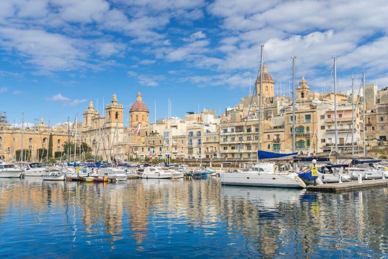 Dockyard Creek. On Birgu Wharf in Valletta Malta royalty free stock photos