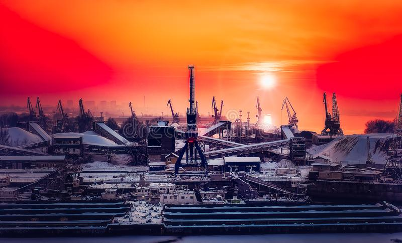 Dockyard winter sunset. Panoramic view royalty free stock image