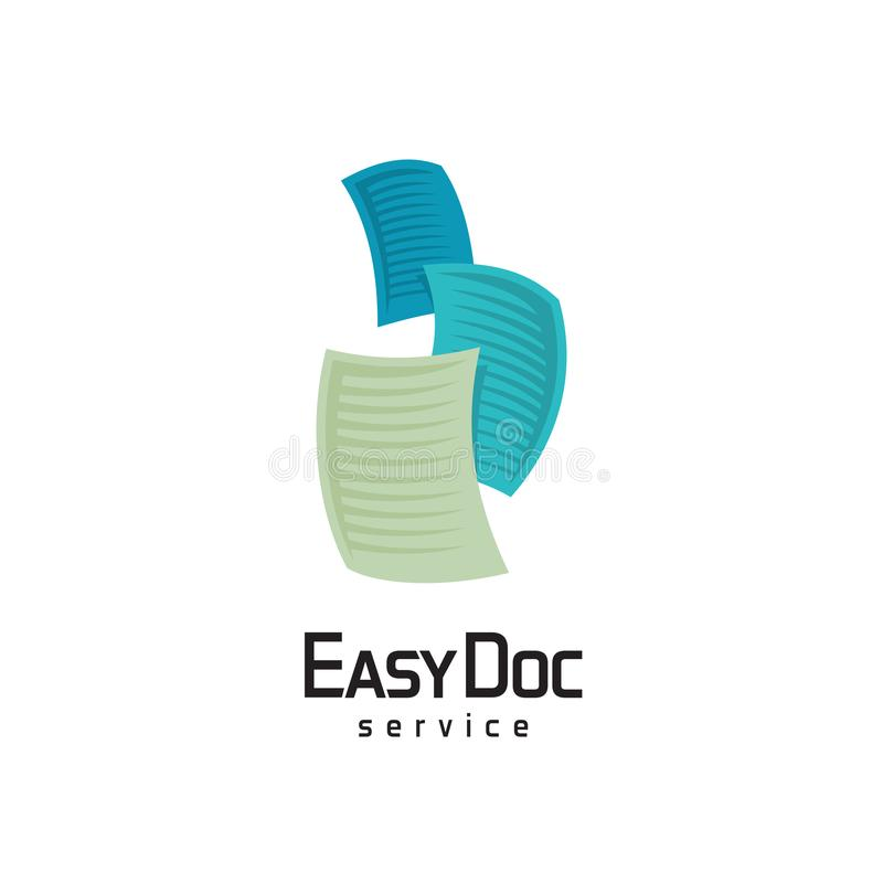 Docs logo. Flying sheets of paper illustration. royalty free illustration