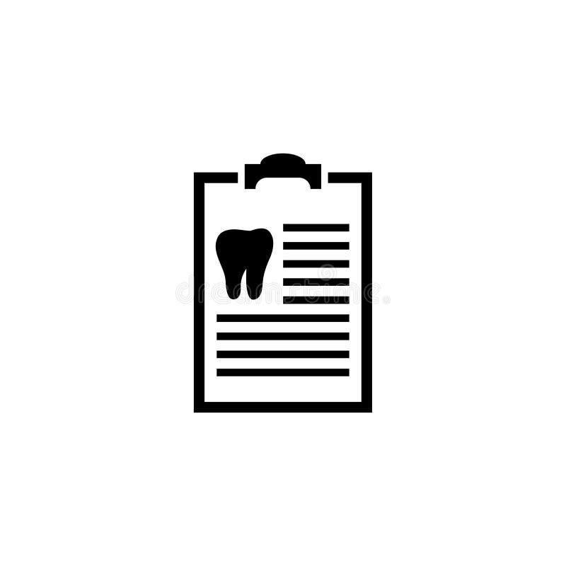 Docs Stomatologiczna lista kontrolna, zębu diagnostyka raportu Płaska Wektorowa ikona ilustracji