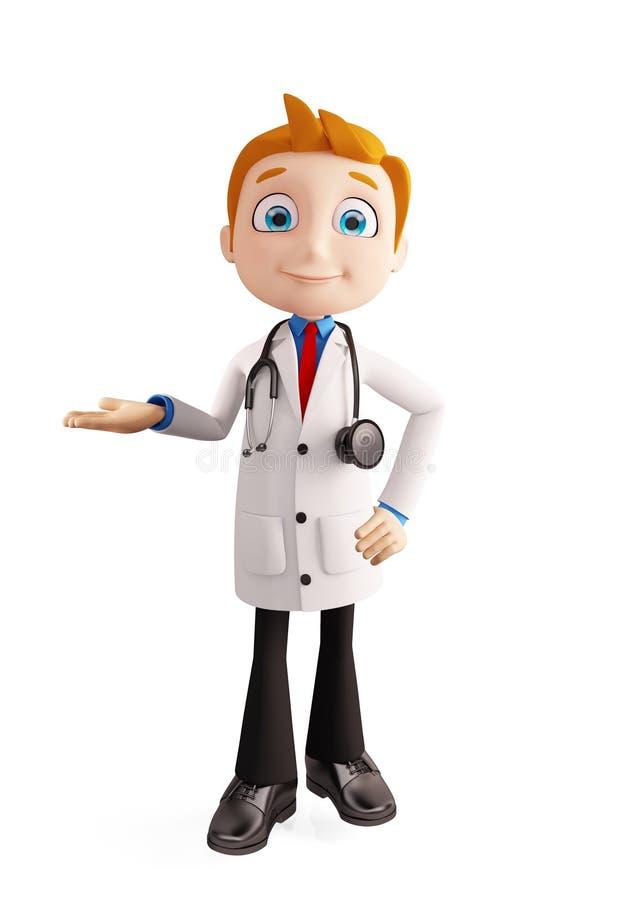 Docteur avec la pose de présentation illustration libre de droits