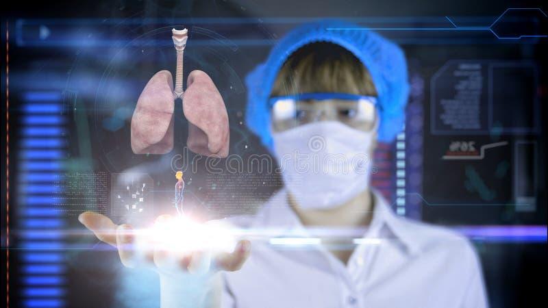 Docteur avec le comprimé futuriste d'écran de hud poumons, bronches Concept médical de l'avenir images libres de droits