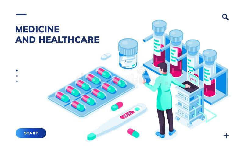 Docteur avec le comprim? ou le pharmacien pr?s des pilules illustration stock