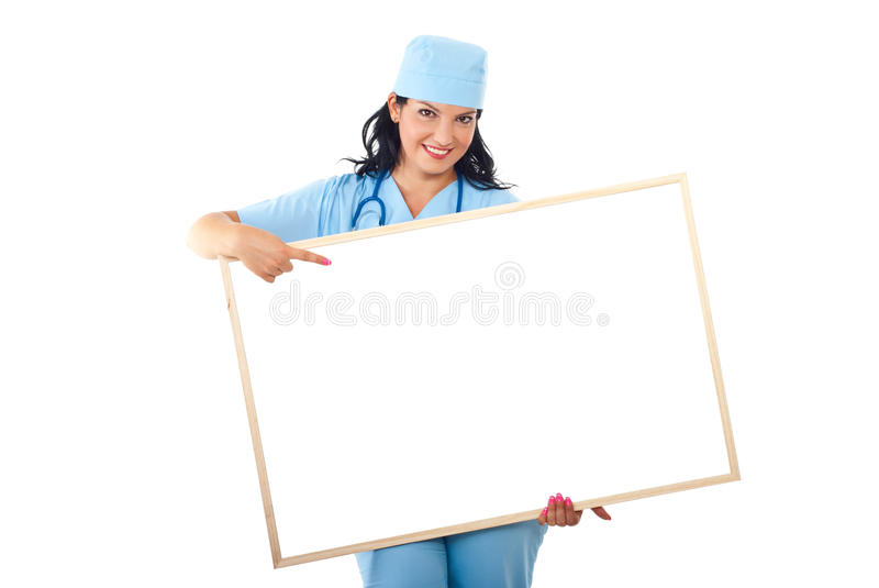 Docteur avec le point de drapeau au copyspace photos stock