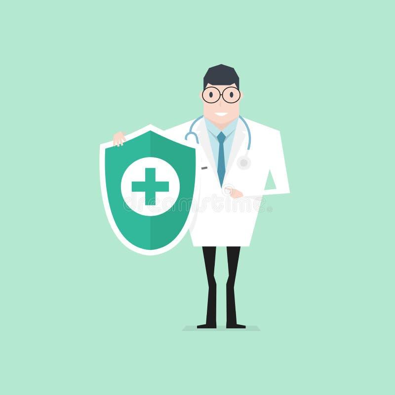 Docteur avec le stéthoscope tenant la protection hygiénique de bouclier Contr?le de sant? vers le haut illustration de vecteur