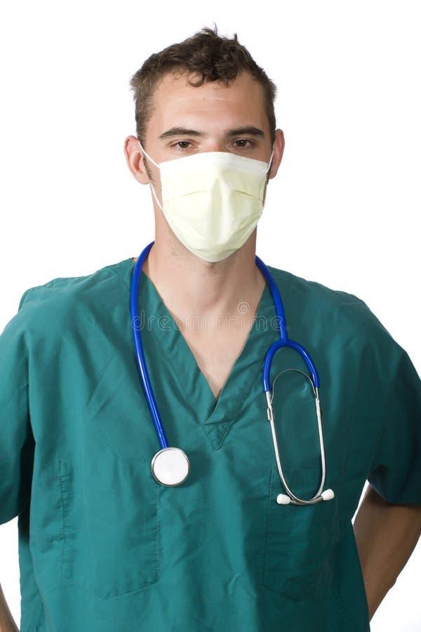 Docteur avec un masque image stock