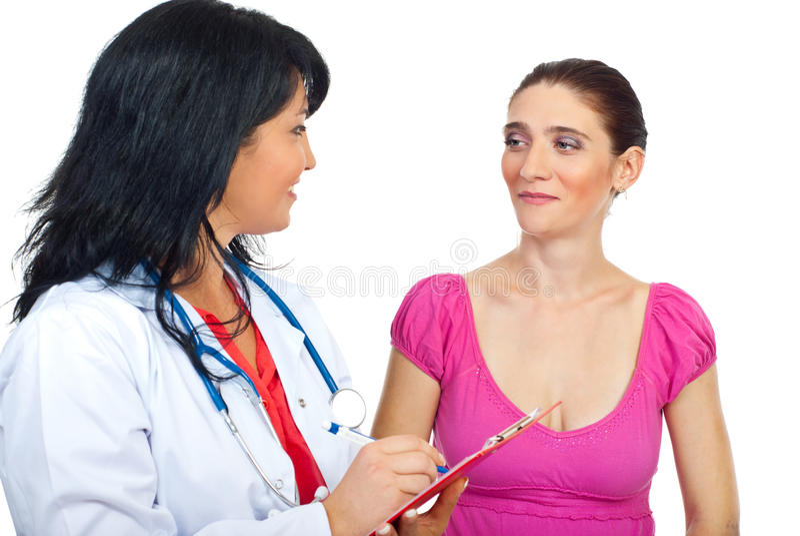 Docteur ayant la conversation avec son patient image libre de droits