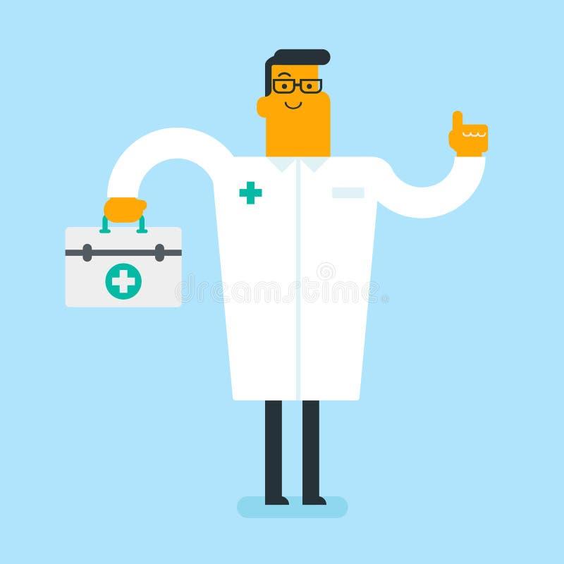 Docteur blanc caucasien tenant une boîte de premiers secours illustration libre de droits