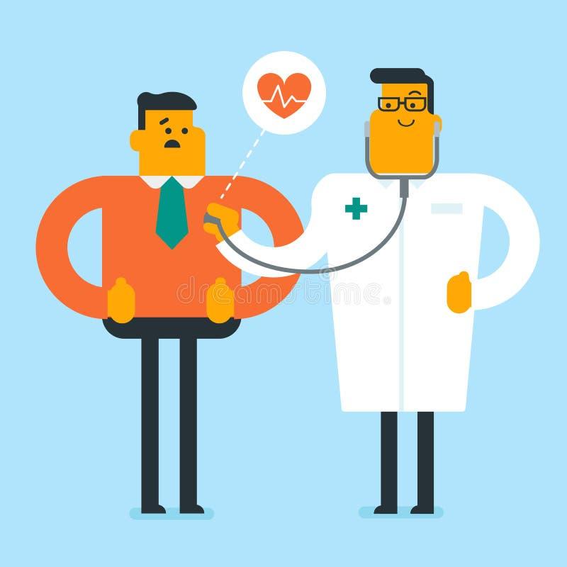 Docteur caucasien écoutant le coeur du patient illustration libre de droits
