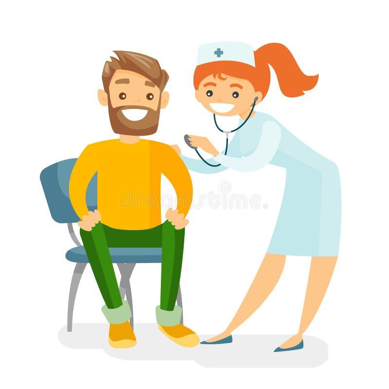 Docteur caucasien écoutant le coeur du patient illustration stock