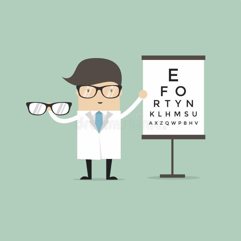 Docteur caucasien d'ophtalmologue donnant des verres Ophtalmologue tenant des lunettes sur le fond du diagramme d'oeil illustration libre de droits