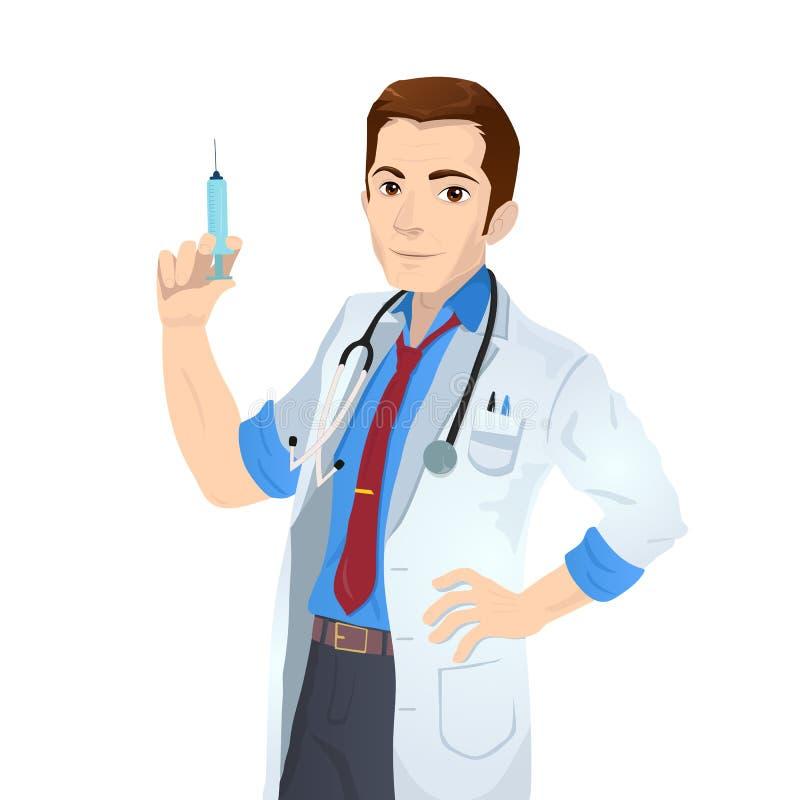Docteur caucasien tenant la seringue médicale d'injection illustration libre de droits