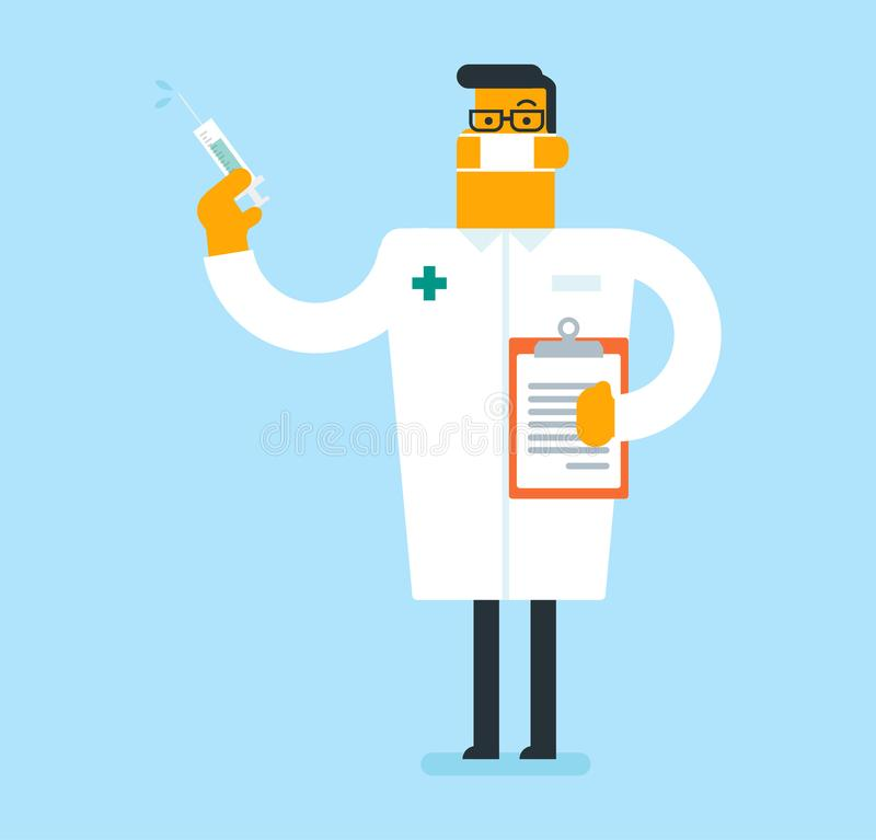 Docteur caucasien tenant une seringue avec le vaccin illustration de vecteur