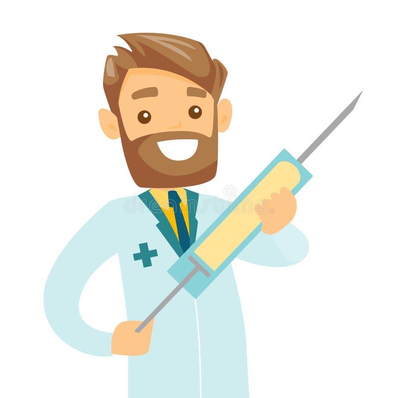 Docteur caucasien tenant une seringue avec le vaccin illustration libre de droits