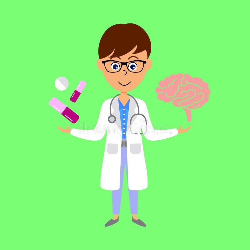 Docteur, cerveau et médecine de bande dessinée Concept de soins de sant? illustration de vecteur