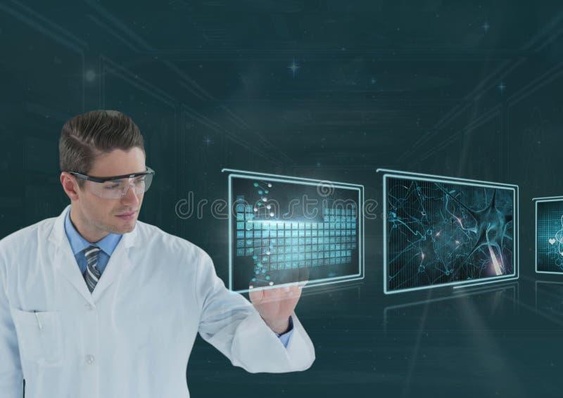 Docteur d'homme agissant l'un sur l'autre avec les interfaces médicales photographie stock libre de droits